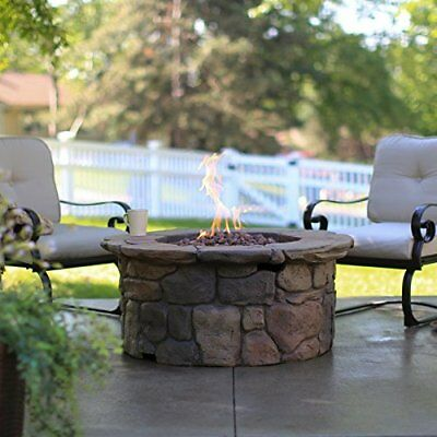 Outdoor Fire Pit Propane Gas Fire Table Large 45 in Patio Deck Cover