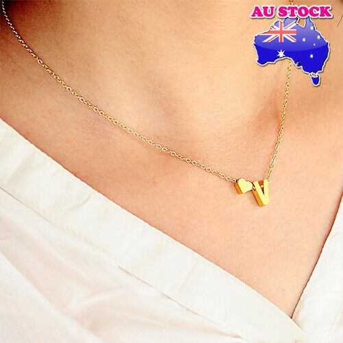 Jewellery - Wholesale Charm 18K Gold Plated A-Z Letter And Love Heart Pendant Necklace Gift