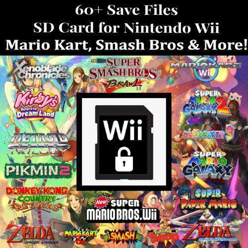 Unlocked Nintendo Wii SD Memory Card   60+ Save Files   Smash Bros,Mario Kart...
