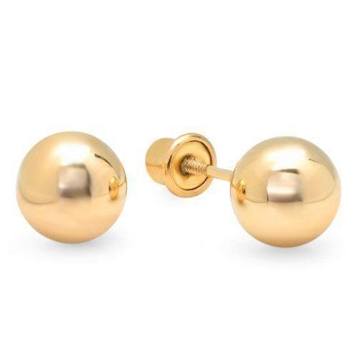 10K Yellow Gold Ball 3mm-8mm stud Earrings W/ Safety Screw Backs + Free Gift Box