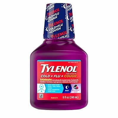 Tylenol Paracetamol Cold + Flu + Cough Night Liquid Medicine