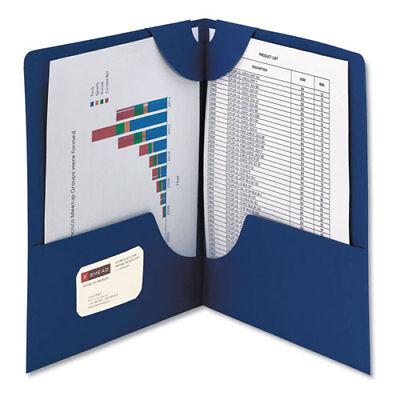 Lockit Two-pocket Folder Textured Paper 11 X 8 12 Dk Blue 25bx
