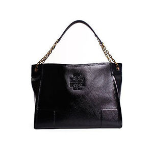 5be337f5914e Last 1 Tory Burch Britten Large Slouchy Tote Black Patent Leather ...