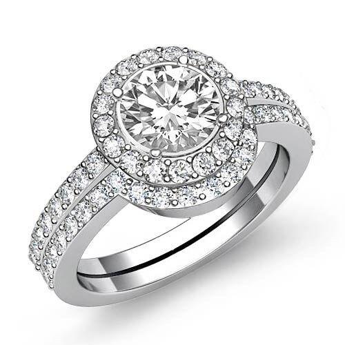 Round Shape Diamond Women's Bridal Set Engagement Ring GIA F SI1 Platinum 2ct