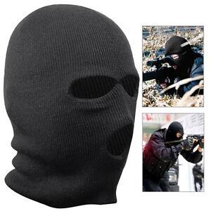 Black Balaclava Mask Warm 3 Hole Winter SAS Style Army Ski Hat Neck Warmer