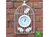 Vintage Antique Battery Operated Garden Wall Clock Cream Metal Bird Cage Clock