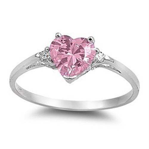 Black And Pink Heart Wedding Rings: Pink Sapphire Heart Ring