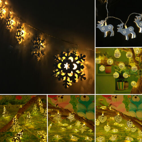 10 LED Battery Powered Bulb String Lights Outdoor Fairy BBQ