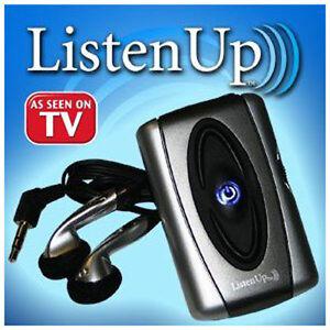 Усилитель звука для пожилых людей Listen Up . Превращает обычный звук в громкий звук,при этом не мешая другим!Теперь с легкостью можно слушать вашу семью и друзей или смотреть телевизор  с помощью Listen Up, абсолютно не мешая другим.