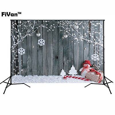 Wood & Snowman Design Photo Backdrop W Eyelets For Xmas Eve Home Party - Backdrop Design