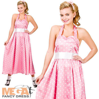 50s Pink Bopper Dress Ladies 1950s Fancy Dress Adults Fifties Womens Costume New](Fifties Costumes For Womens)