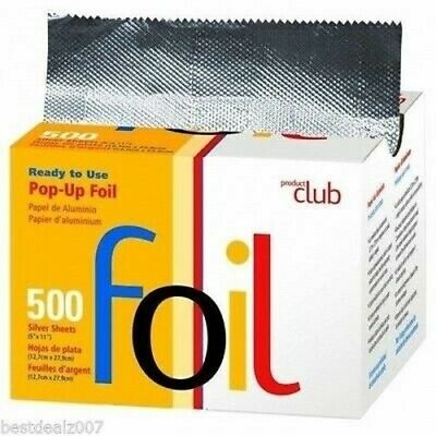 "PRODUCT CLUB POP UP FOIL 500 SILVER SHEETS - 5"" X 11"" FOR HAIR COLORING"