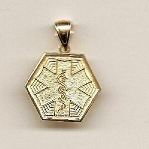 14k Yellow Gold Medical Alert Symbol Pendant Charm Made in ...