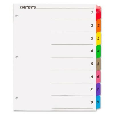 """Sparco Color Coded Indexing System - Printed1-8 - 8.50"""" X 11"""" - 8 / (spr21901)"""