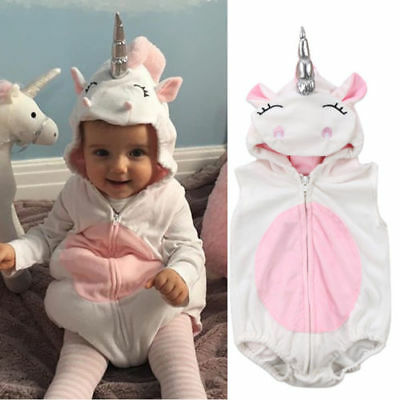 NEW Unicorn Baby Girls White Fleece Romper Halloween Dress Up Costume  (Baby Ups Costume)