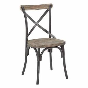 (4 AVAILABLE) New, SMR424WAS-AB Somerset X-Back Antique Black Metal Chair MSRP $110, PICKUP ONLY - PU9