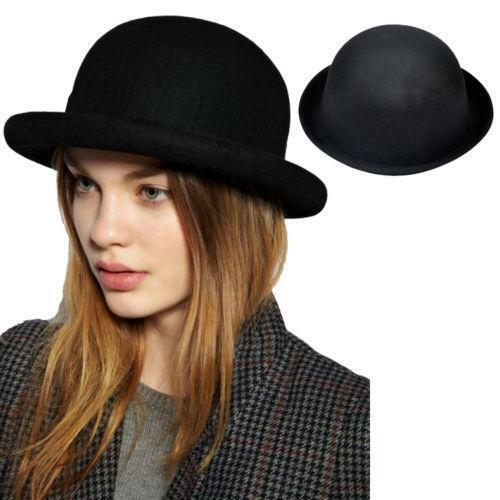 Black bowler style hat with black ribbon band Wool Imported.