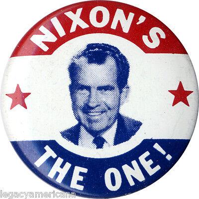 Classic 1968 Richard NIXON'S THE ONE Campaign Button (1031)