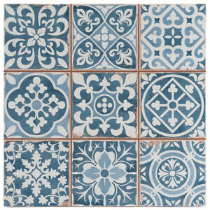 Victorian Tangier Blue Decor Wall Floor Tile 33x33cm
