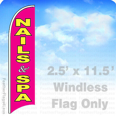 Nails Spa - Windless Swooper Flag Beauty Salon Feather Banner Sign 2.5x11.5 Pb