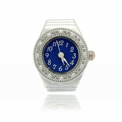 Finger Ring Ring Watch Bezel Quartz Arabic Numeral Silver blue NEW LW