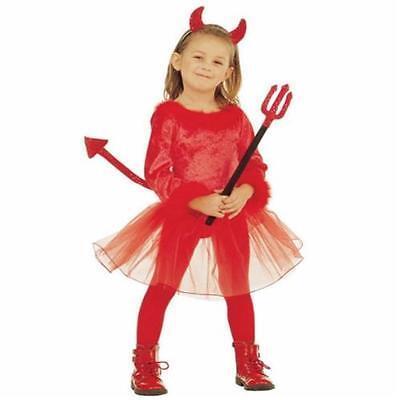 Halloween-kostüm Teufel Mädchen (TEUFELIN Teufel Kinder Kostüm Mädchen rot Halloween AUSWAHL 110, 116)
