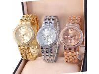 £10 ono Women's Bracelet Stainless Steel Crystal Diamonds Dial Analog Quartz Wrist Watch