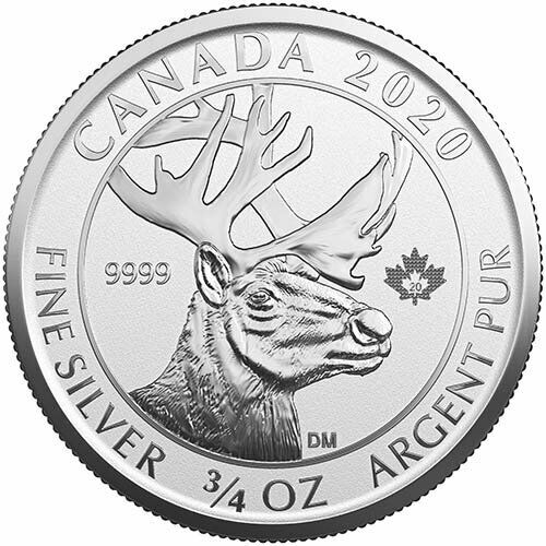 2020 Canadian Animal Portrait Series Woodland Caribou 3/4 oz Silver UNC. RP Coin