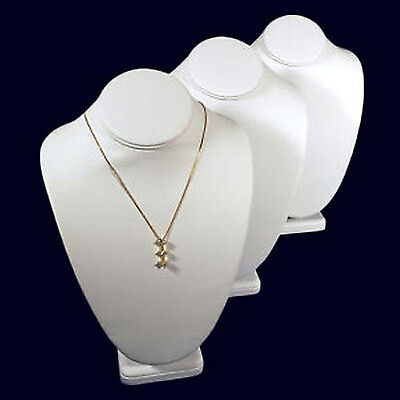 3 White Leather Necklace Jewelry Display Busts 11