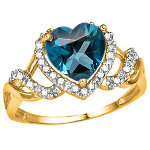 SPECTACULAR  LONDON BLUE TOPAZ  &  DIAMOND  RING