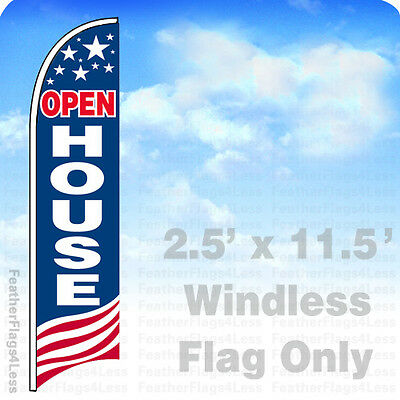 Open House - Windless Swooper Flag Feather Banner Sign 2.5x11.5 Usa Bb