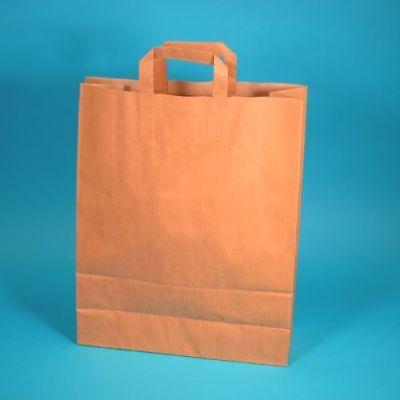 250 Papiertragetaschen Papiertüten Einkaufstüten Bio braun 80g stark 32+17x42cm