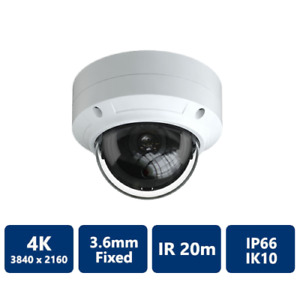 8MP 4K CCTV Vandal Dome IP CAMERA H.265 with Junction Box White