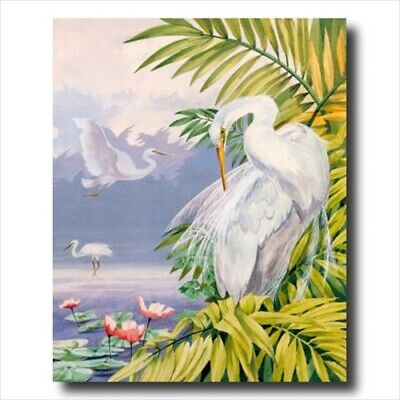 Tropical Lake Exotic Bird Wall Picture Art Print ()