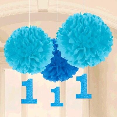 1st BIRTHDAY BOY FLUFFY DECORATIONS W/ GLITTER CUTOUTS ~ First Party Supplies - Boy First Birthday Party Supplies