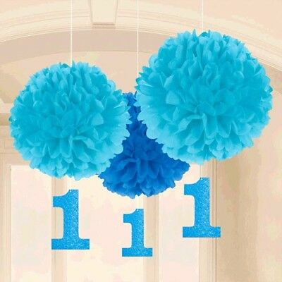 1st BIRTHDAY BOY FLUFFY DECORATIONS W/ GLITTER CUTOUTS ~ First Party Supplies - Boys 1st Birthday Party Decorations