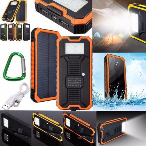 Waterproof 300000mAh Portable Solar Charger Dual USB Battery
