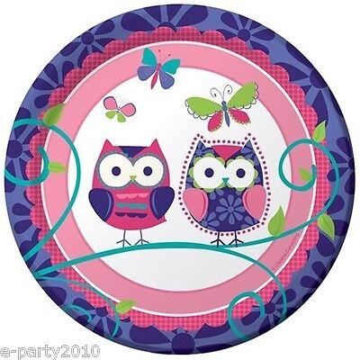 PATCHWORK OWL SMALL PAPER PLATES (8) ~ Birthday Party Supplies Cake Dessert Pals](Owl Party Plates)
