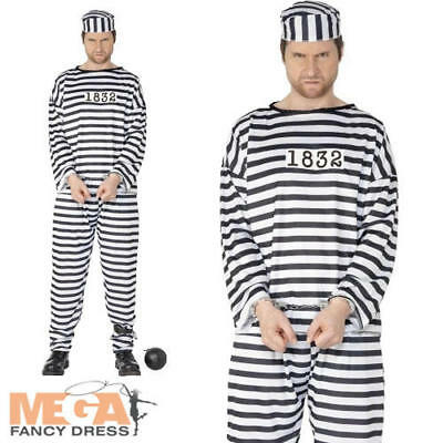 Convict Prisoner Mens Fancy Dress Robber Inmate Criminal Uniform Costume - Convict Outfit