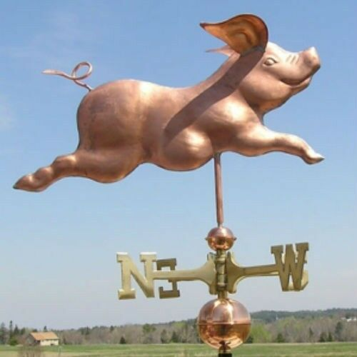 PLAYFUL COPPER RUNNING PIG  WEATHERVANE MADE IN USA #315