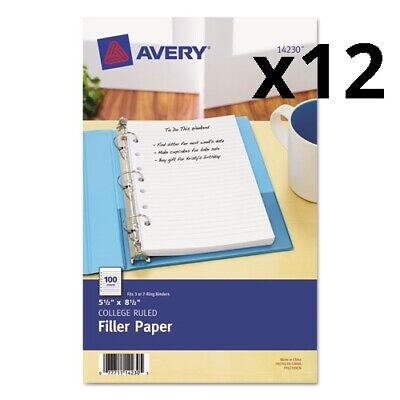 Mini Size Binder Filler Paper 7-hole 5.5 X 8.5 Narrow Rule 100pack Pack