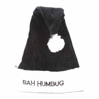Deluxe Bah Humbug Black Santa Christmas Hat Great For Fancy Dress Parties ](Bah Humbug Santa Hat)