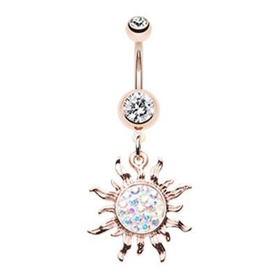 Rose Gold Multi-Sprinkle Dot Sun Belly Ring Sexy Pretty Clear CZ Star Dangle AB