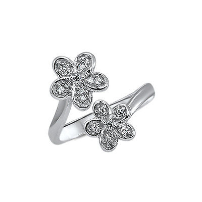 925 Sterling Silver Toe Ring Flower Cubic Zirconia Jewelry Jewellery Adjustable