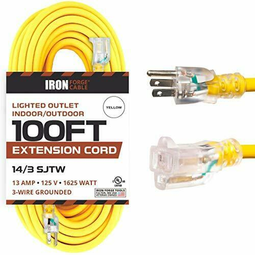 100 Foot Lighted Outdoor Extension Cord - 14/3 SJTW Heavy Duty Yellow