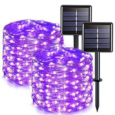 JMEXSUSS Purple Solar String Lights Outdoor Waterproof 2 Pack 33ft 100 LED So...