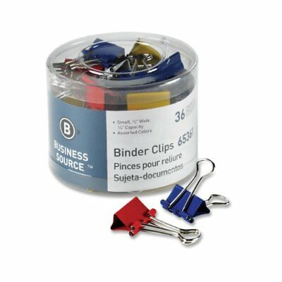 Business Source Binder Clip - Small - 0.75 Width - 36 Pack - Assorted