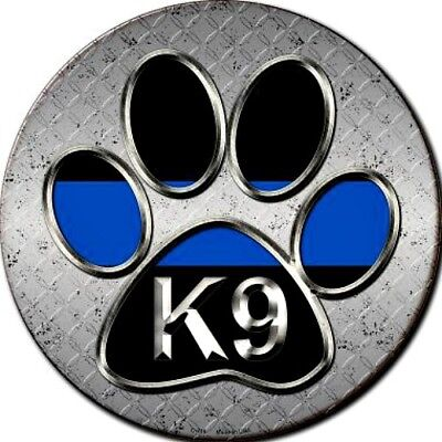 "K9 Paw Print 12"" Round Metal Sign Novelty Canine Dog Man Cave Home Wall Decor"