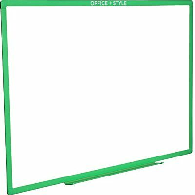 Large Magnetic Dry Erase Board Wall Mounted 24x36 Inches. Green. By Office Style