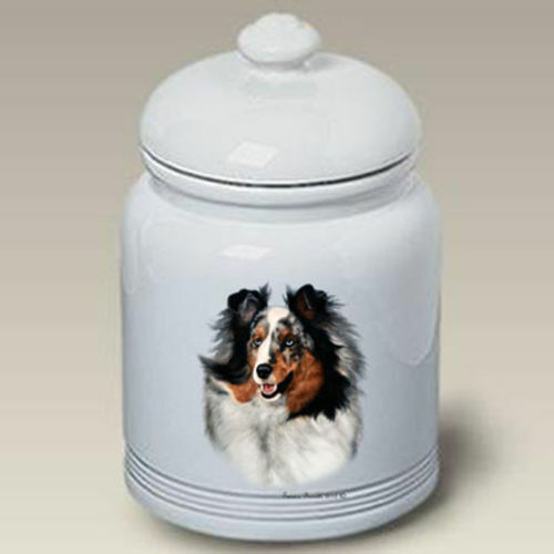 Blue Merle Shetland Sheepdog Sheltie Ceramic Treat Jar TB 34090
